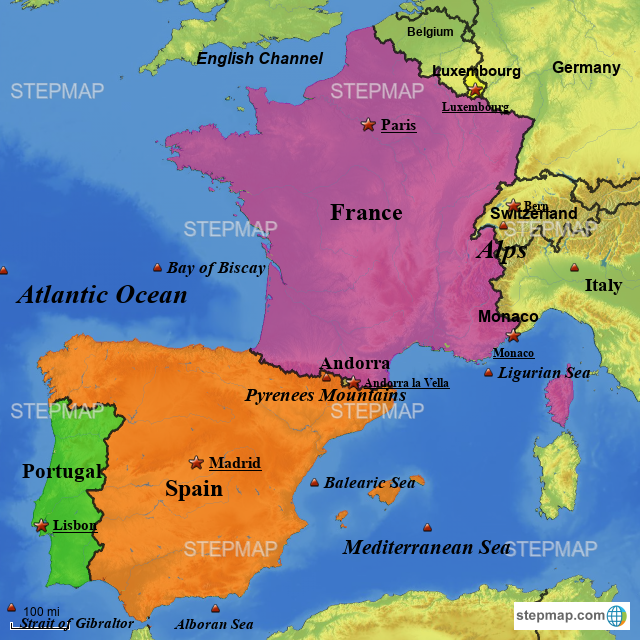 France-Spain map