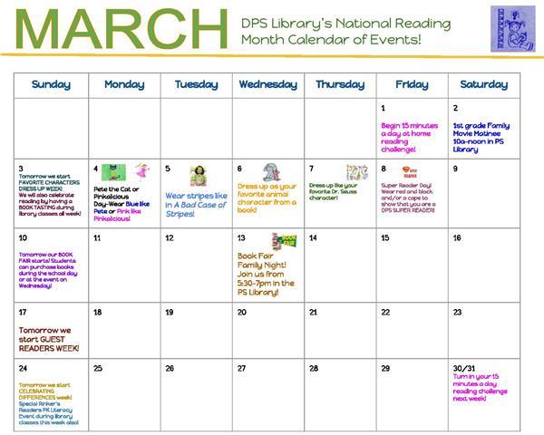 Dps Calendar.National Reading Month Dress Up Days